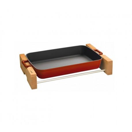 26x40cm, Чугунена LAVA тава с отляти дръжки и дървена поставка (LV P TP 2640 K4)