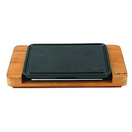 22x16cm, Чугунена плоча LAVA с дървена поставка (LV HRC HP 2216 AS 212)