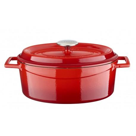 LV O TC 29 K2 EDT - 23x29cm, Чугунена червена овална касерола/тенджера LAVA с капак 4.7л бял/кремав емайл отвътре