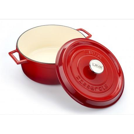 LV YTC 24 K2 EDT - Ø 24cm, 4,5л Чугунена червена кръгла тенджера/касерола LAVA с капак Тренди, светъл/кремав емайл отвътре