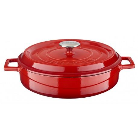 LV YST 24 K2 EDT - Ø24cm, Чугунена червена мултифункционална/ниска тенджера/касерола LAVA с капак 2.5л. бял/кремав емайл отвътре