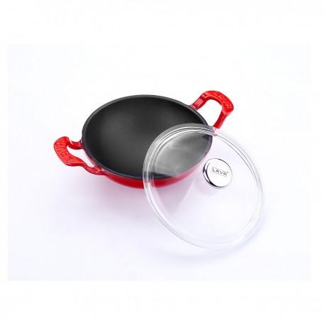 LV WOK 16 K3 - Ø 16cm, Чугунена уок купа LAVA с две дръжки и стъклен капак