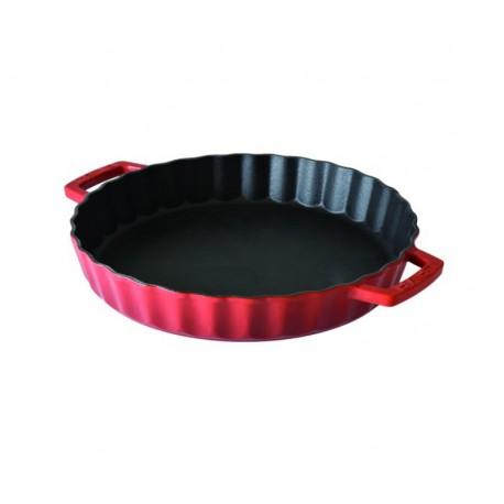 LV Y TP 30 K0-1 - Ø 30cm, Чугунена кръгла LAVA тава с отляти дръжки, червен цвят