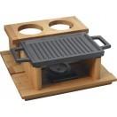 22x15cm, Чугунена плоча LAVA двустранна с дървена поставка (LV ECO HP 2215 T13 K44)